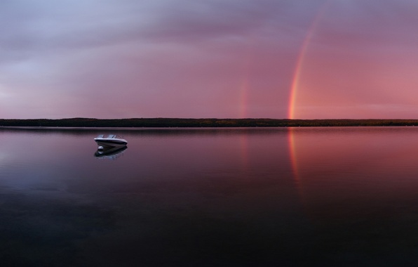 Picture lake, boat, The evening, rainbow