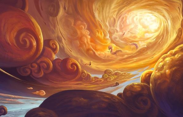 Picture the sky, the sun, clouds, flight, dragon, people, art, feng liu, pursue
