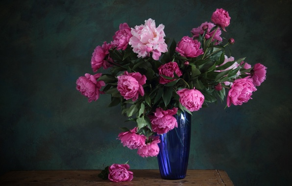 Picture flowers, bouquet, vase, pink, blue, peonies