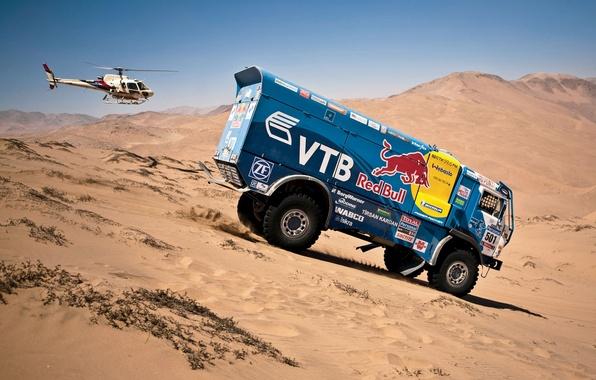 Picture Sand, Auto, Blue, Machine, Helicopter, Red Bull, KAMAZ, Rally, KAMAZ, Dakar, Dakar, Side view, Dune, …