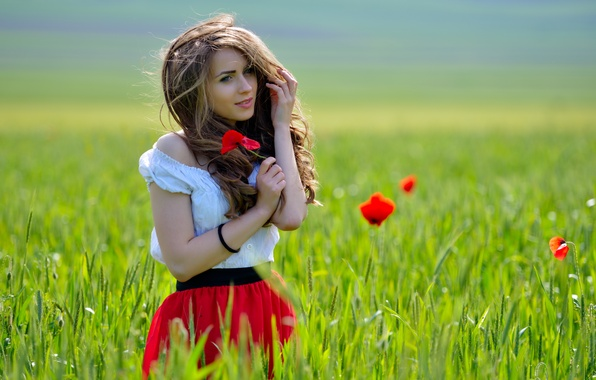 Picture field, girl, flowers, reverie, smile, the wind, Maki, brown hair, charm