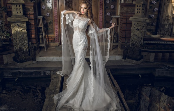 Picture girl, pose, style, dress, Asian, wedding dress