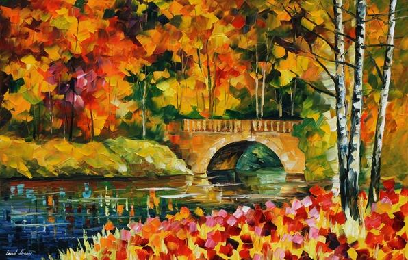 Picture autumn, leaves, water, trees, bridge, river, painting, Leonid Afremov