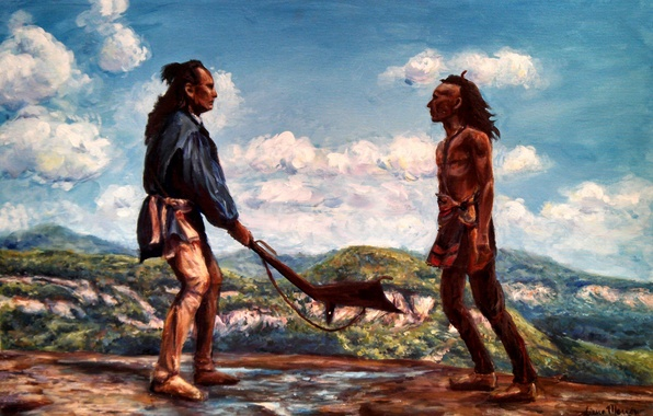 Picture the sky, clouds, rocks, figure, the Indians, the fight, The last of the Mohicans