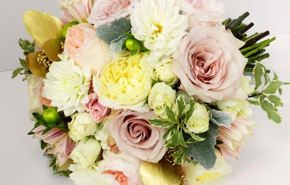 Picture photo, Flowers, Bouquet, Roses, Buttercup, Dahlias