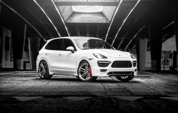 Picture Porsche, turbo, white, Cayenne, 958, frontside, V-CT Edition