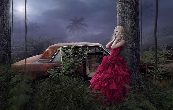 Picture girl, trees, palm trees, fantasy, dress, art, car