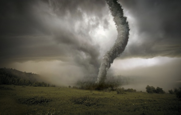 Picture field, clouds, tornado, hurricane