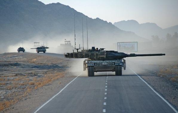 Picture road, war, tank, column, Afghanistan, Leopard 2A6