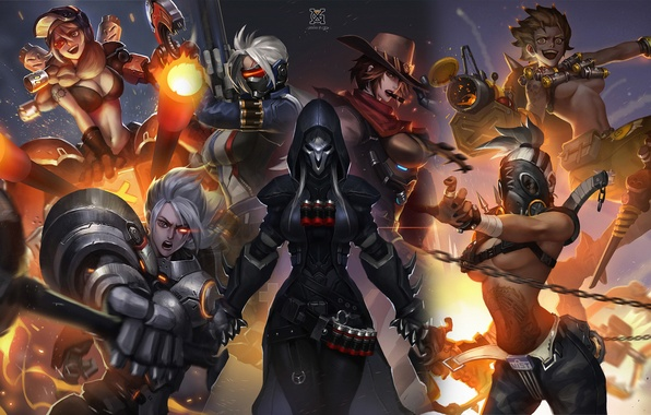 Photo wallpaper female characters, art, Blizzard, Overwatch, genderbend