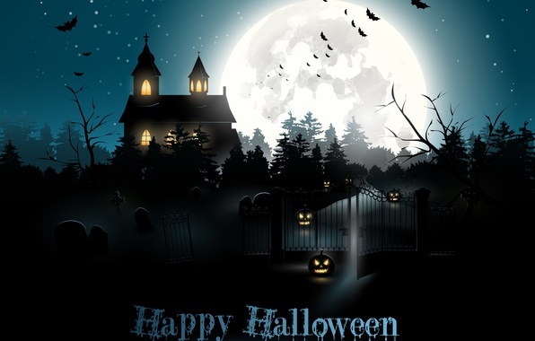 Picture light, night, house, holiday, the moon, pumpkin, bats, halloween
