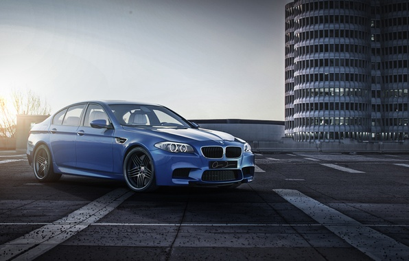 Picture the sky, blue, lights, the building, bmw, BMW, front view, f10, monte carlo blue, running