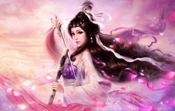 Picture girl, tape, hair, sword, petals, art, hairstyle, brush, ruoxing zhang