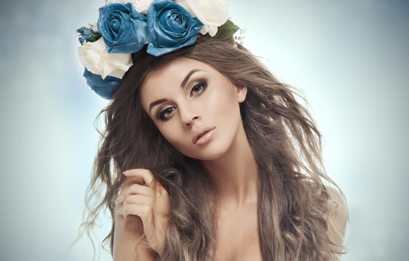 Picture eyes, look, girl, flowers, background, model, hair, hand, makeup