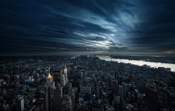 Picture night, clouds, the city, building, skyscrapers, the evening, America, USA, new york, new York