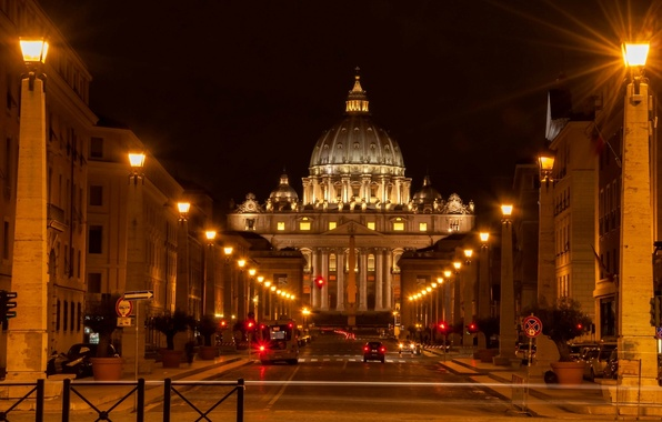 Picture road, machine, street, lighting, Rome, lights, Italy, Italy, Rome, The Vatican, The state of Vatican ...