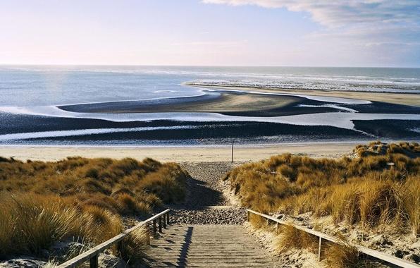 Picture sand, sea, wave, beach, landscape, nature, horizon, ladder