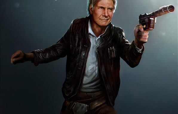 Picture the old man, star wars, art, Harrison Ford, han solo