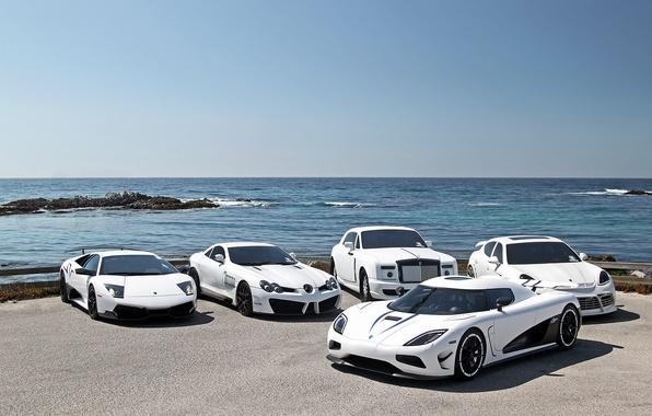 Picture white, Lamborghini, white, mercedes, supercar, porsche, Porsche, Mercedes, panamera, sls, supercars, phantom, Lamborghini, Koenigsegg, koenigsegg, …