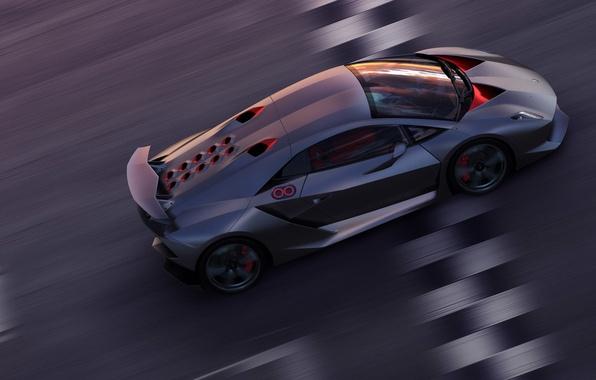 Picture speed, track, Lamborghini, Sesto Elemento, finish line