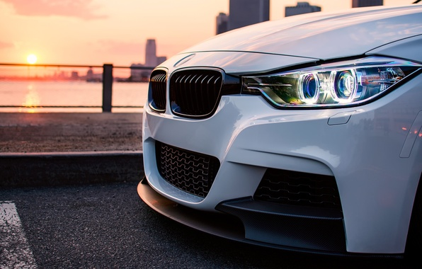 Picture the sun, light, the city, BMW, white, series, F30, 335I