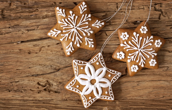 Picture stars, snowflakes, New Year, cookies, Christmas, Christmas, stars, dessert, cakes, New Year, glaze, Christmas