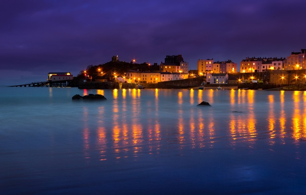 Picture sea, night, lights, home, Bay, Wales, Tenby