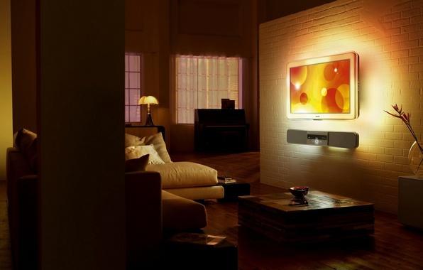 Picture design, style, room, sofa, dark, lamp, bed, interior, TV