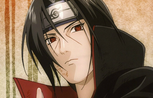 Picture portrait, headband, Naruto, red eyes, sharingan, Akatsuki, Itachi uchiha