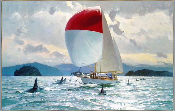 Picture sea, the sky, clouds, sailboat, picture, yacht, orcas, Blossom Christopher