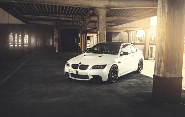Picture white, BMW, BMW, white, front, E92, concrete supports
