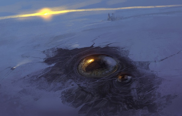 Picture winter, the sun, snow, sunset, eyes, ice, station, art