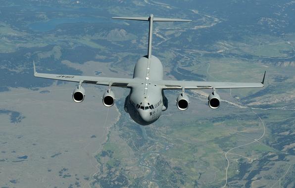 Picture flight, landscape, the plane, strategic, military transport, C-17, McDonnell Douglas, Globemaster III
