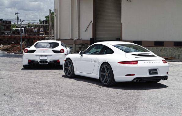 Picture white, white, ferrari, Ferrari, porsche, Porsche, rear view, Italy, 458 italia, Carrera, 911 carrera