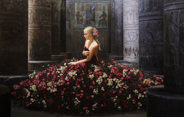 Picture girl, flowers, pose, model, roses, dress, columns, painting, sitting