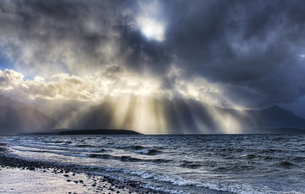 Picture wave, water, clouds, rays, light, stones, Shore