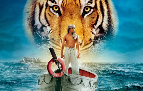 Picture sea, water, tiger, boat, people, ship, guy, Life Of PI, Life of Pi