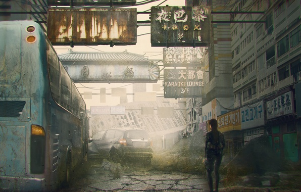 Picture machine, the city, street, woman, people, bus, ruins, postapocalypse