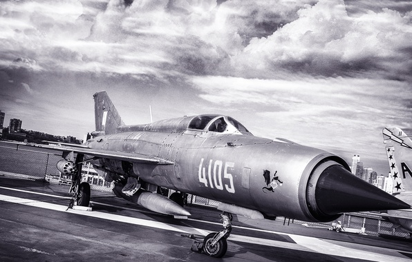 Picture The sky, The city, The plane, Wings, The ship, Nose, Aviation, multi-role fighter, The MiG-21, …