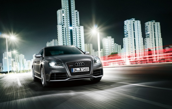 Picture grey, Audi, speed, RS5, city night