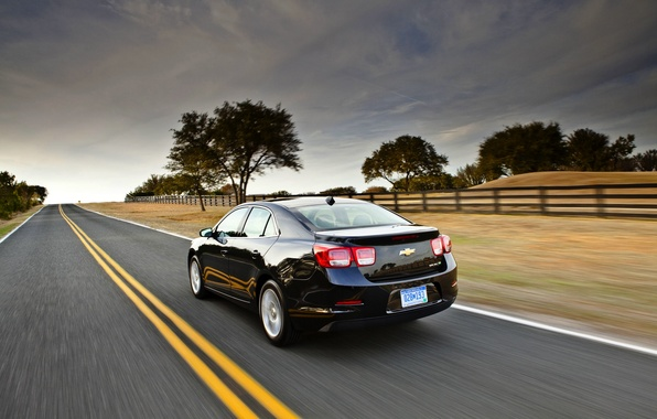 Picture the sky, Road, Black, Chevrolet, Machine, Sedan, Malibu, Malibu