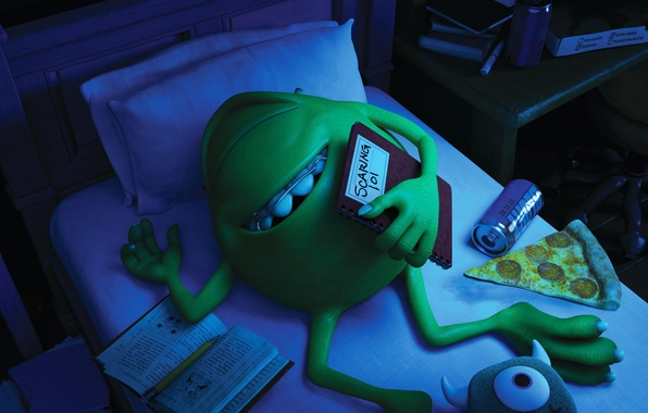 Picture blue, green, smile, bed, one-eyed, Monsters University, Monsters Inc., Monsters University, Monsters, Mike wazowski, braces, …