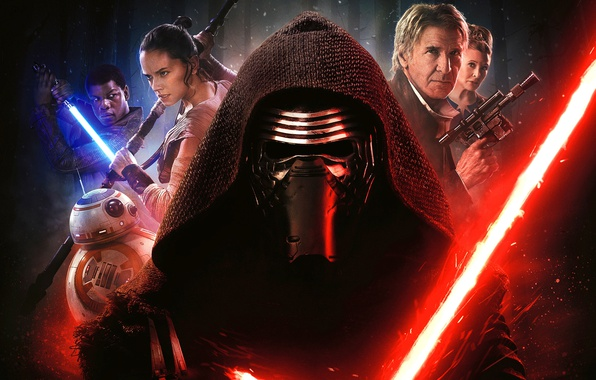 Picture weapons, fiction, robot, mask, hood, poster, characters, lightsaber, Harrison Ford, Star Wars: Episode VII - …