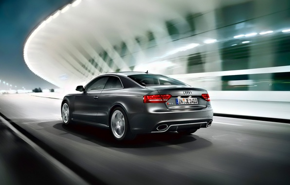 Picture road, night, Audi, Audi, speed, RS5, quattro, coupe