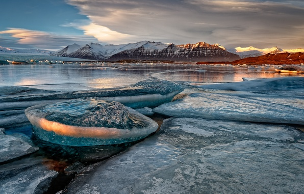 Picture ice, snow, mountains, nature, lake, shore