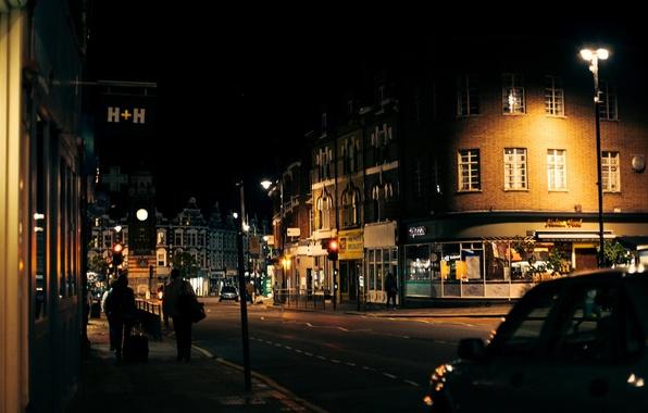 Picture road, machine, night, the city, people, street, England, London, lighting, lights, UK, London, traffic lights, …
