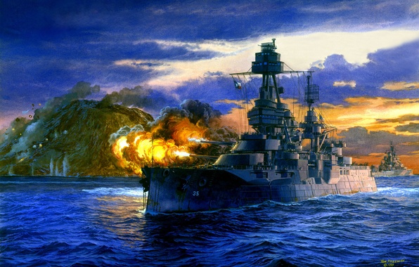 Picture Japan, art, artist, theatre, USA, Navy, battleship, the fire, Texas, painting, WW2, action, military, Tom …