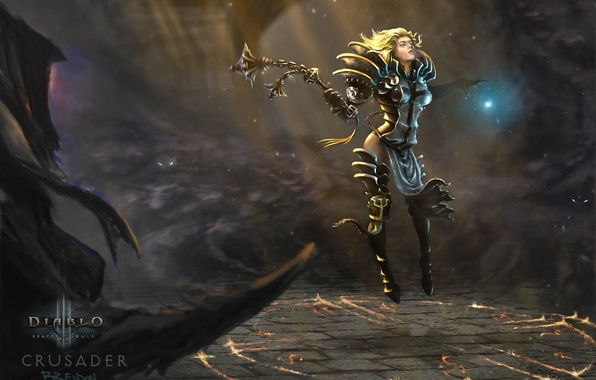 Picture girl, light, weapons, magic, art, Diablo 3, Reaper of Souls, Crusader