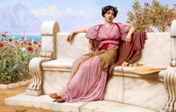 Picture girl, figure, picture, sitting, John William Godward