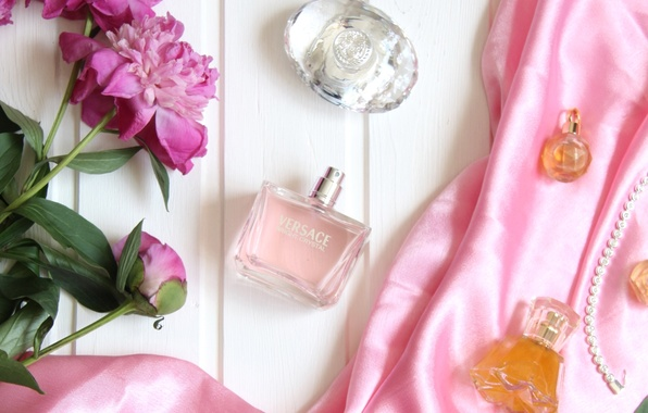 Picture perfume, fabric, peonies, bottles